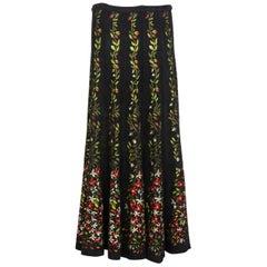 Azzedine Alaïa Balck Floral Chenille Maxi Skirt