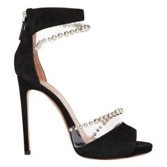 Azzedine Alaïa Bead-Embellished PVC and Suede Sandals