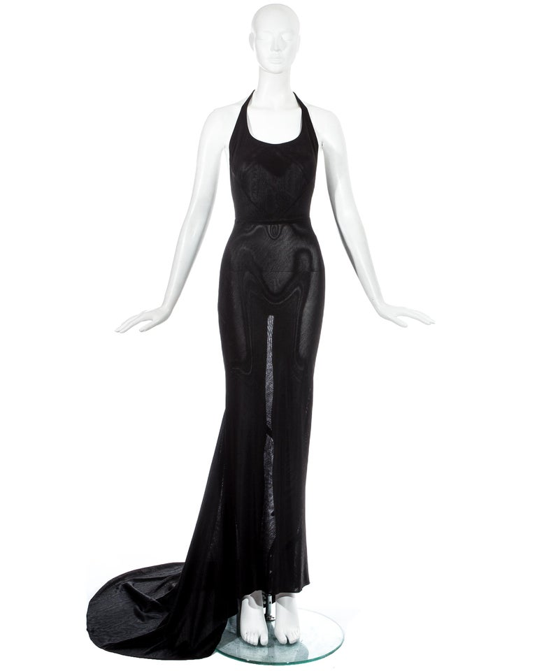 Azzedine Alaia black acetate halter neck bias cut evening dress with train.  c. 1998