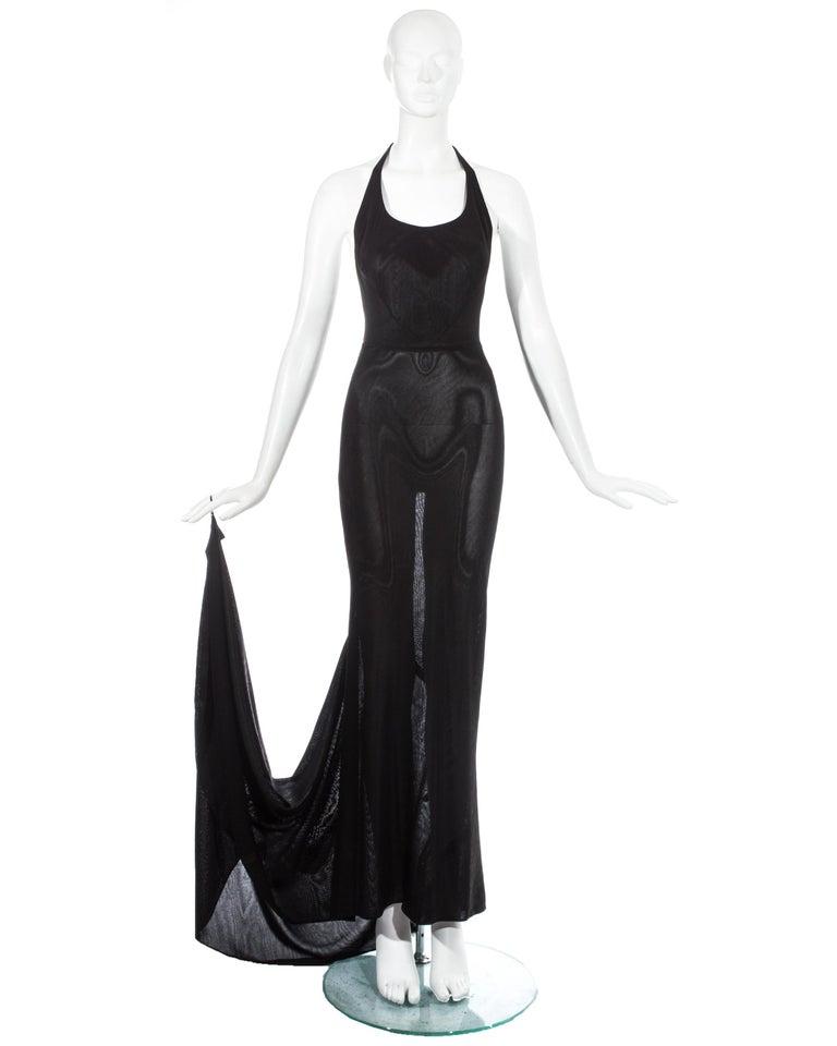Women's Azzedine Alaia black acetate halter neck evening dress with train, c. 1998 For Sale