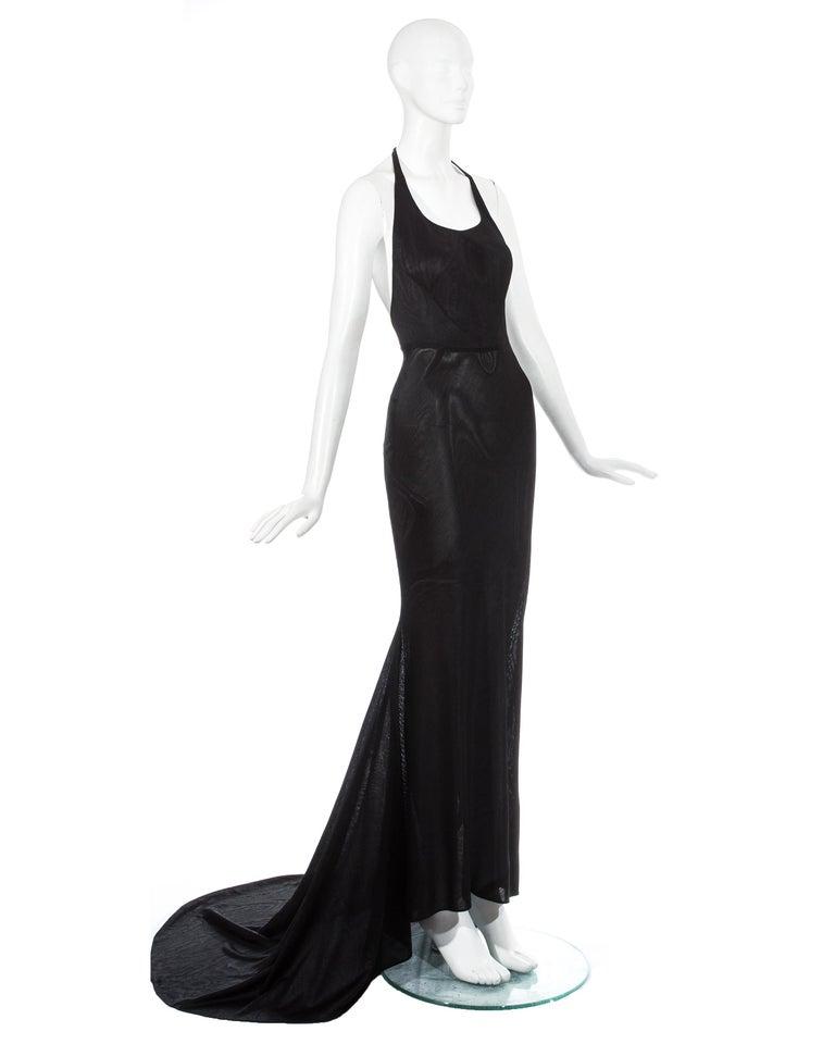 Azzedine Alaia black acetate halter neck evening dress with train, c. 1998 For Sale 1