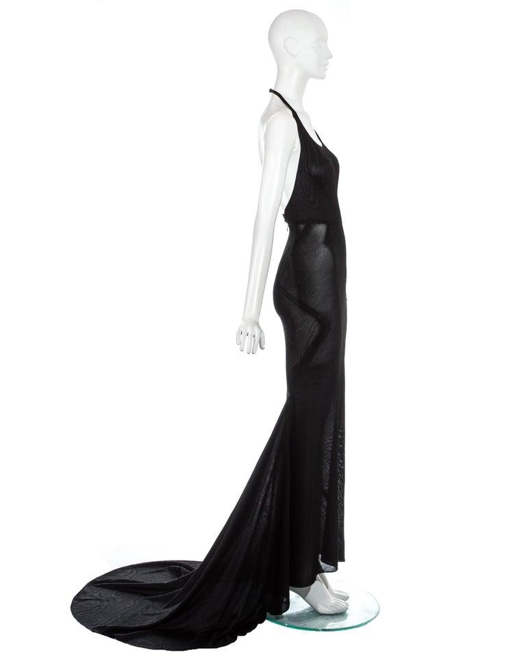 Azzedine Alaia black acetate halter neck evening dress with train, c. 1998 For Sale 2