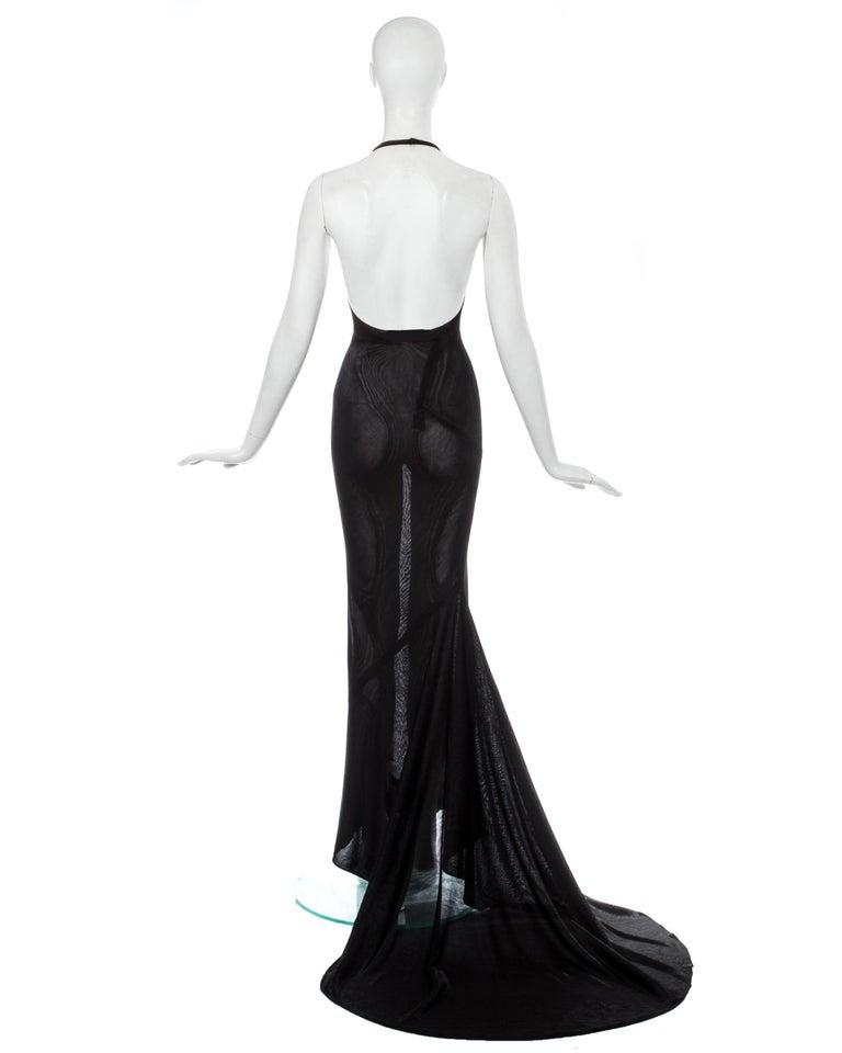Azzedine Alaia black acetate halter neck evening dress with train, c. 1998 For Sale 3