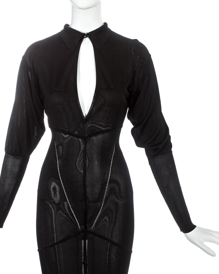 Azzedine Alaia black acetate knit evening maxi dress with train, fw 1986 In Excellent Condition For Sale In London, GB