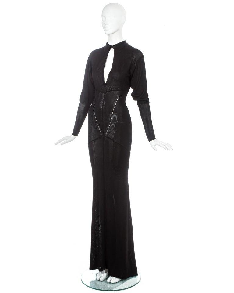 Women's Azzedine Alaia black acetate knit evening maxi dress with train, fw 1986 For Sale