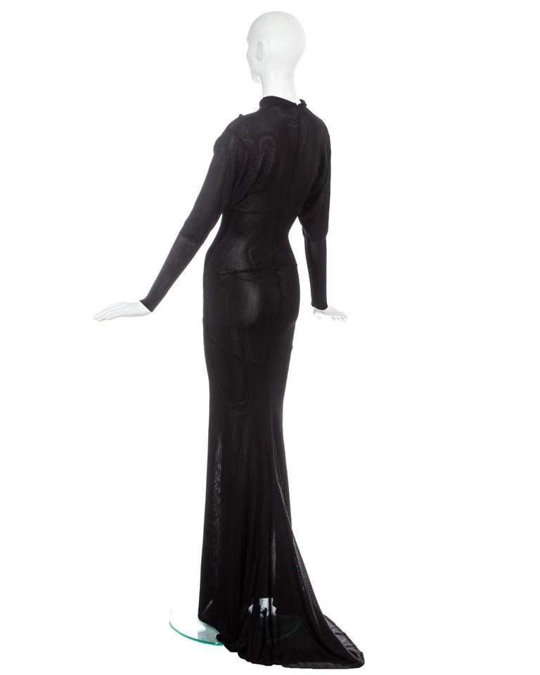 Azzedine Alaia black acetate knit evening maxi dress with train, fw 1986 For Sale 2