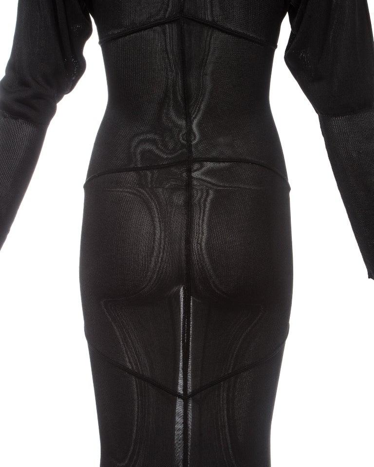 Azzedine Alaia black acetate knit evening maxi dress with train, fw 1986 For Sale 3