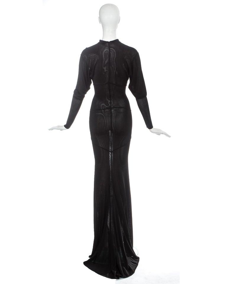 Azzedine Alaia black acetate knit evening maxi dress with train, fw 1986 For Sale 4