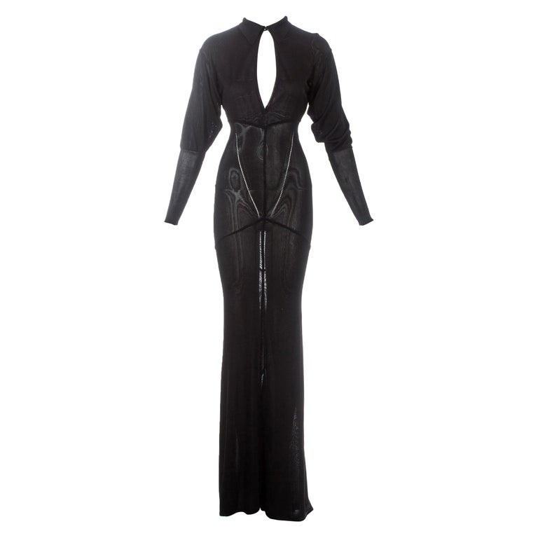 Azzedine Alaia black acetate knit evening maxi dress with train, fw 1986 For Sale