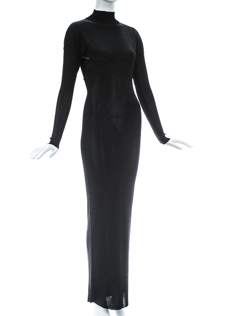 Azzedine Alaia black acetate knit figure hugging evening dress, A/W 1986 In Good Condition For Sale In London, GB