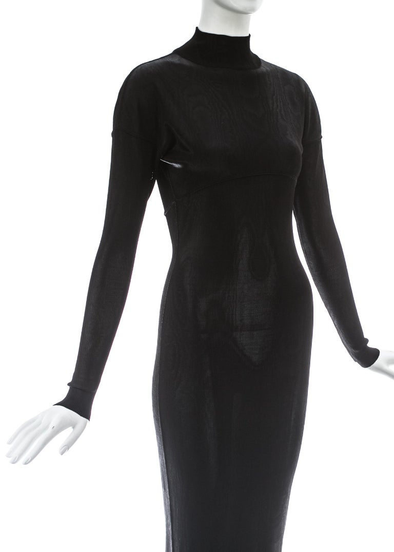 Women's Azzedine Alaia black acetate knit figure hugging evening dress, A/W 1986 For Sale