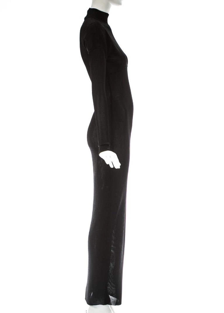 Azzedine Alaia black acetate knit figure hugging evening dress, A/W 1986 For Sale 1