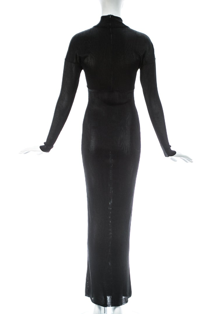 Azzedine Alaia black acetate knit figure hugging evening dress, A/W 1986 For Sale 2