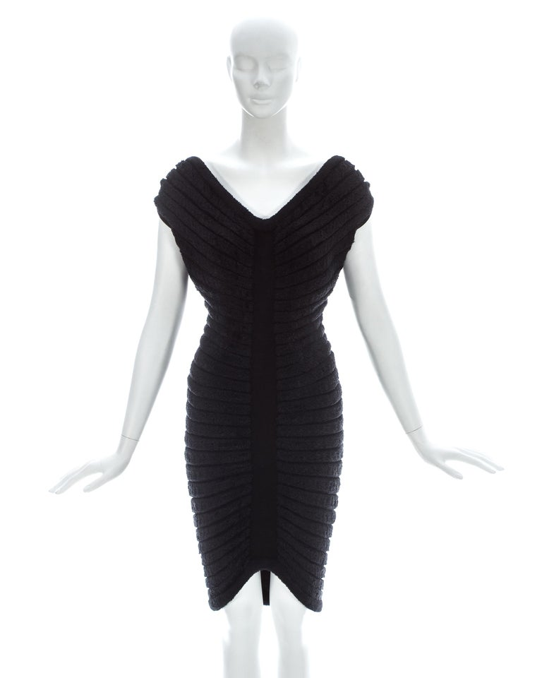 Azzedine Alaia; Black chenille-knitted figure-hugging 'Houpette' dress with radiating concentric chenille bands  Spring-Summer 1994
