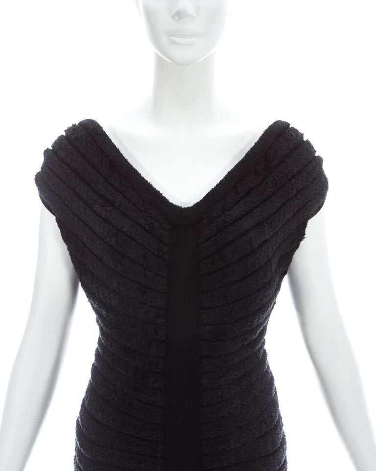 Black Azzedine Alaia black chenille-knitted 'Houpette' dress, ca. 1994  For Sale