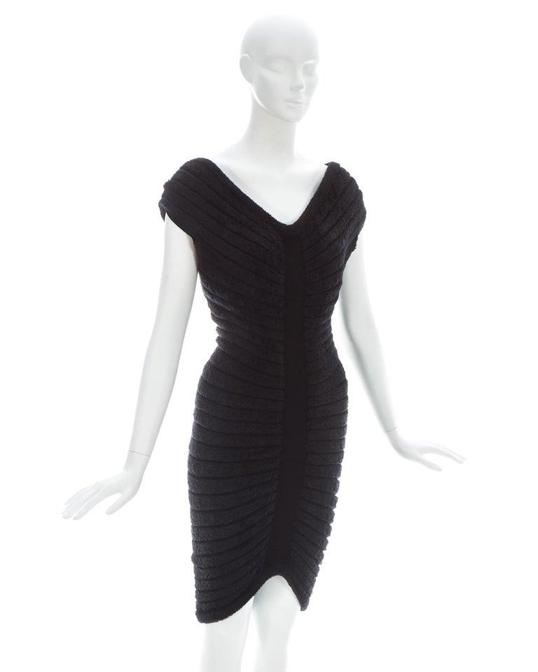 Women's Azzedine Alaia black chenille-knitted 'Houpette' dress, ca. 1994  For Sale