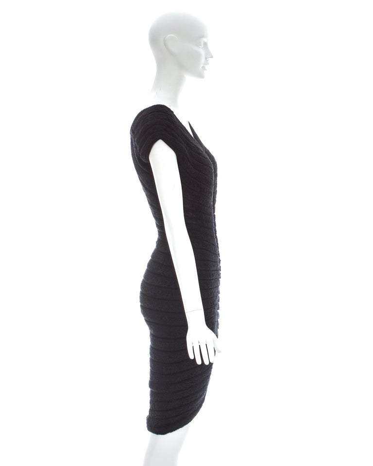 Azzedine Alaia black chenille-knitted 'Houpette' dress, ca. 1994  For Sale 1
