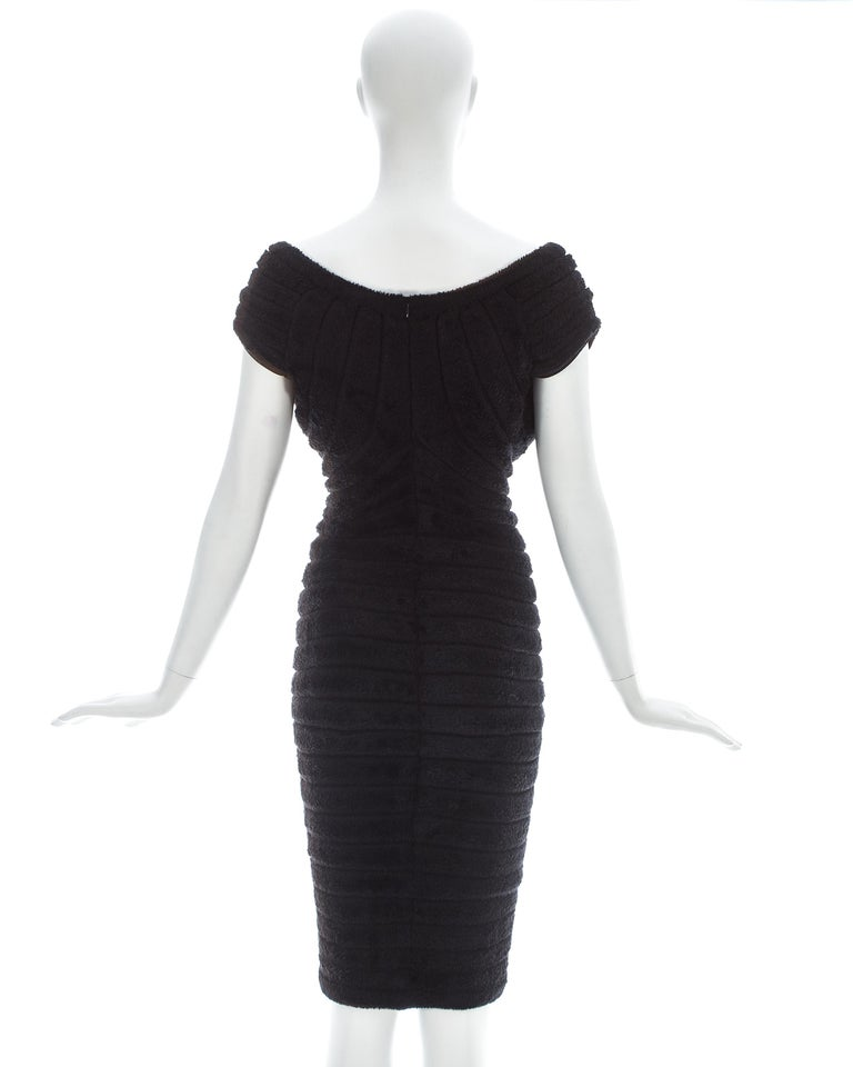 Azzedine Alaia black chenille-knitted 'Houpette' dress, ca. 1994  For Sale 2