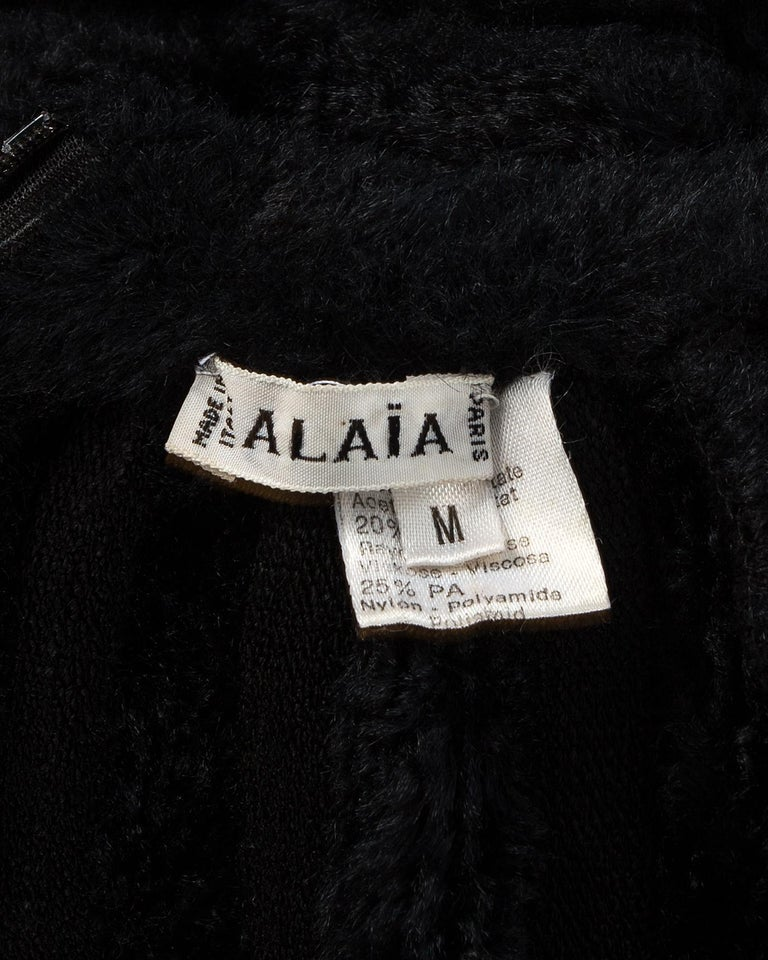 Azzedine Alaia black chenille-knitted 'Houpette' dress, ca. 1994  For Sale 4