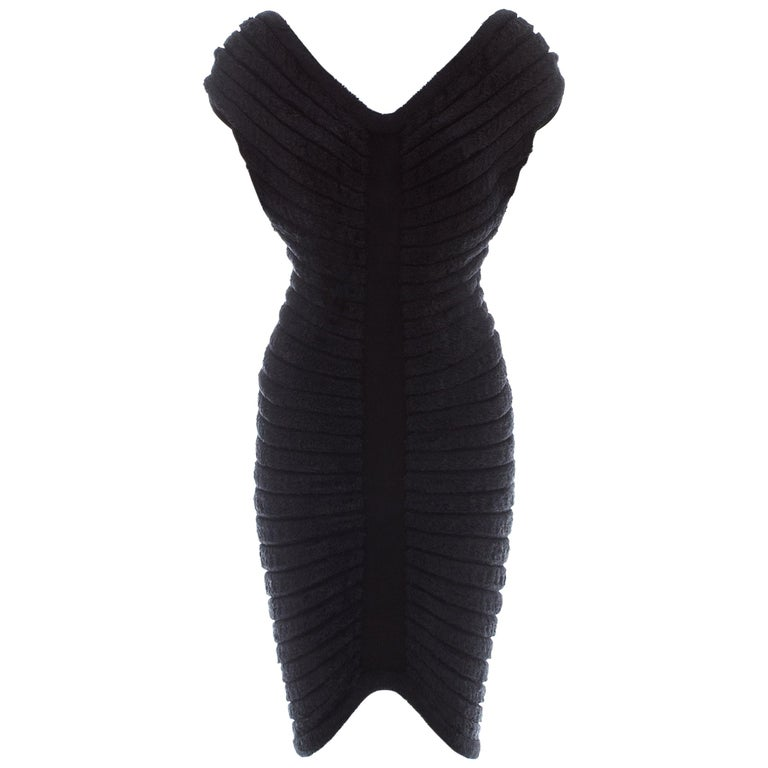 Azzedine Alaia black chenille-knitted 'Houpette' dress, ca. 1994  For Sale