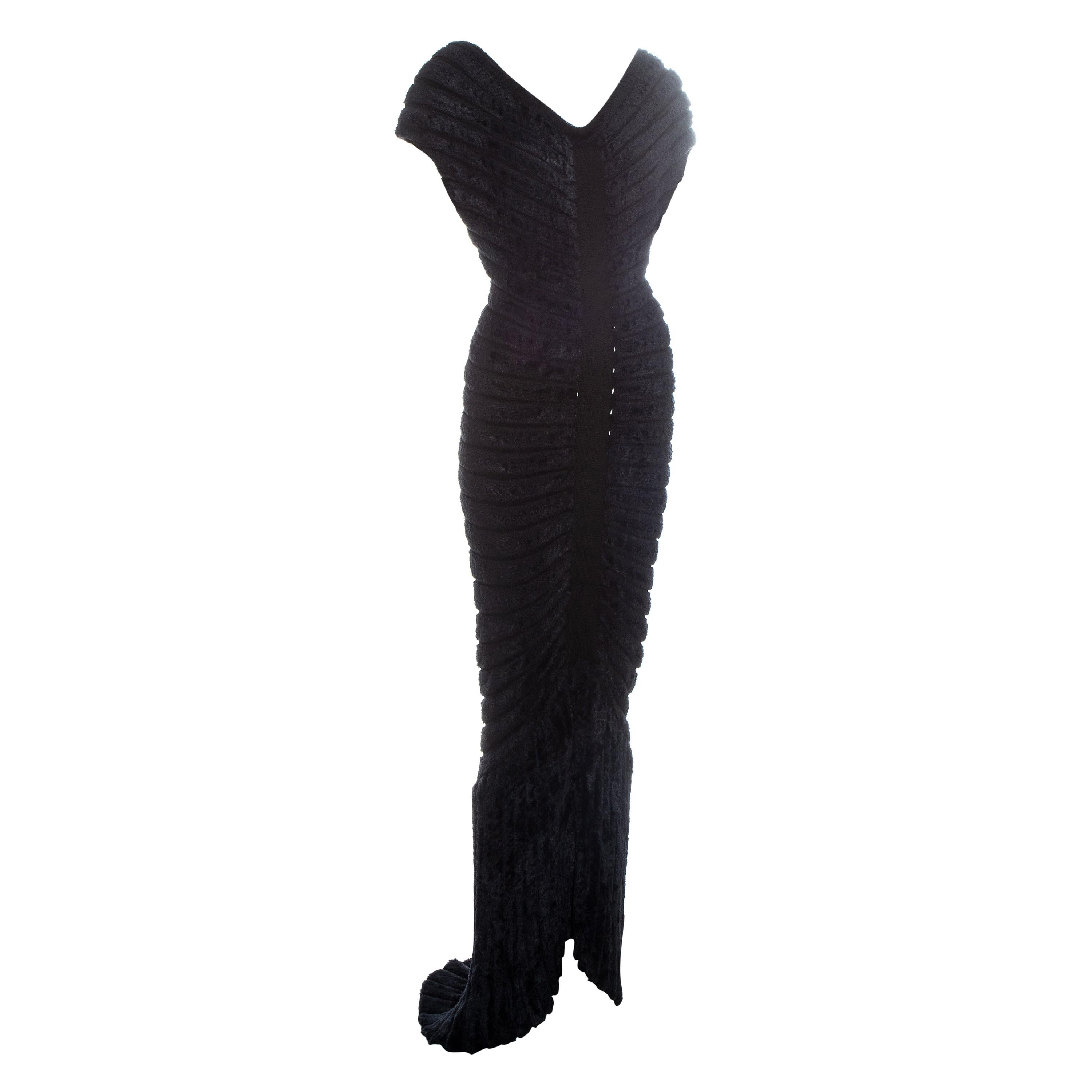 Azzedine Alaia black chenille knitted 'houpette' trained evening dress, ss 1994