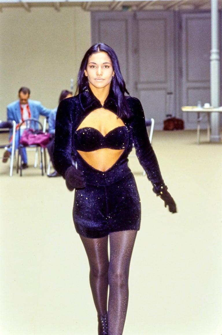 Azzedine Alaia black chenille padded evening bra, fw 1992 For Sale 3