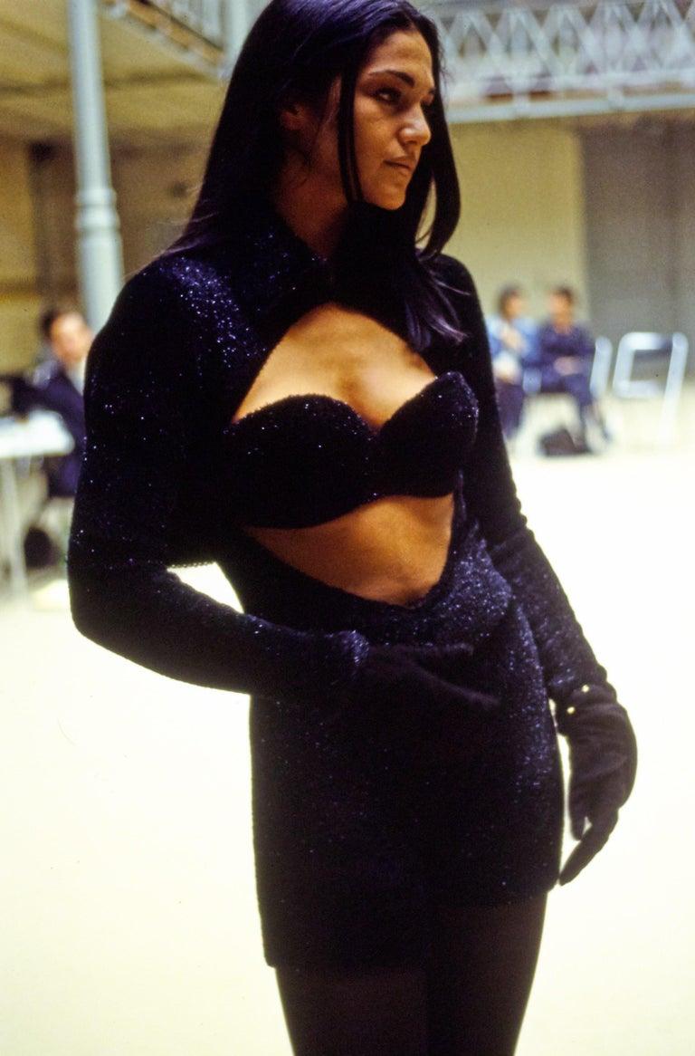 Azzedine Alaia black chenille padded evening bra, fw 1992 For Sale 4