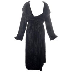 Azzedine Alaia black chenille shawl lapel evening robe, fw 1992