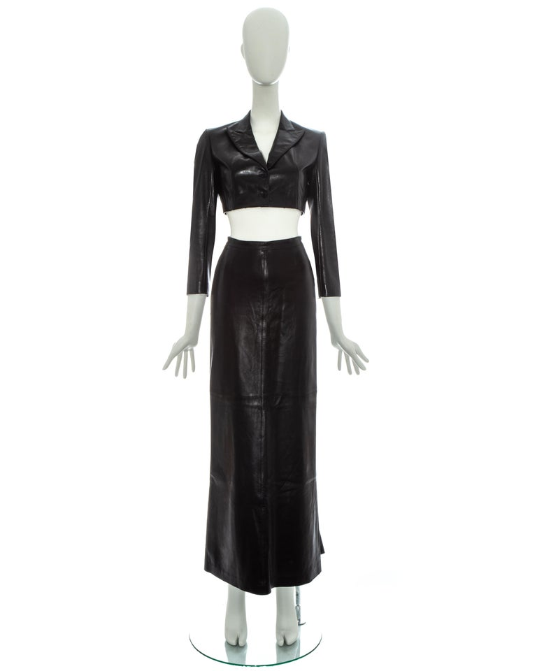 Azzedine Alaia black leather cropped structured blazer jacket with matching fishtail maxi skirt  Spring-Summer 1992