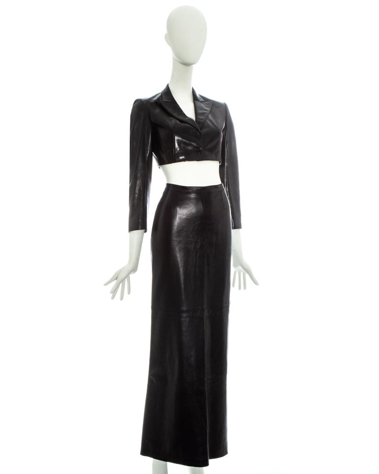 Black Azzedine Alaia black cropped jacket and maxi skirt set, ss 1992 For Sale
