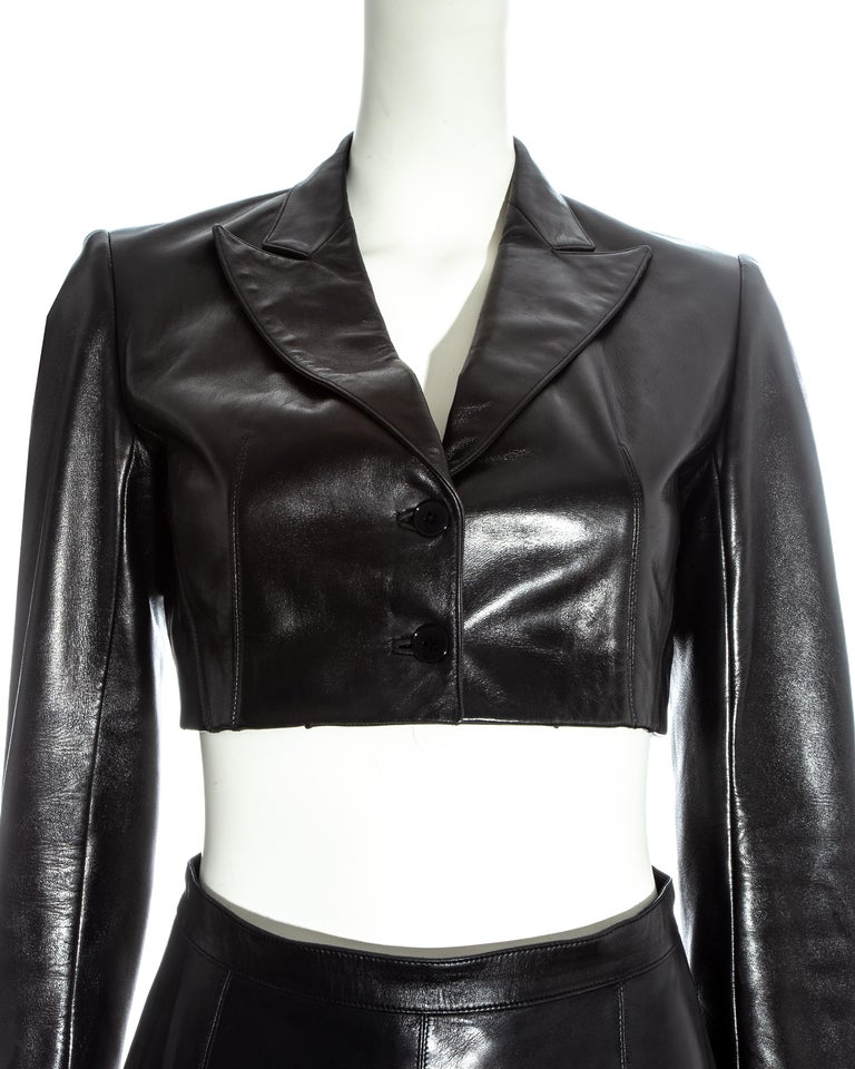 Azzedine Alaia black cropped jacket and maxi skirt set, ss 1992 In Excellent Condition For Sale In London, GB