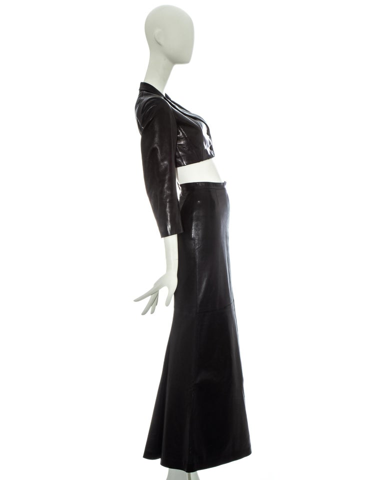 Women's Azzedine Alaia black cropped jacket and maxi skirt set, ss 1992 For Sale