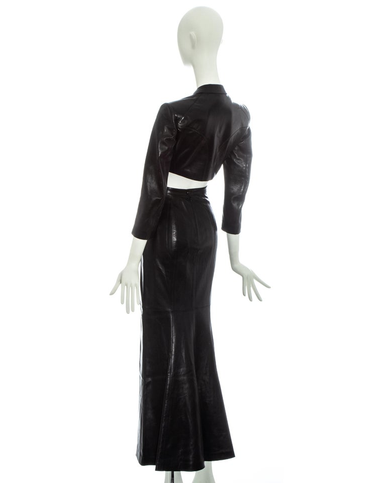 Azzedine Alaia black cropped jacket and maxi skirt set, ss 1992 For Sale 1