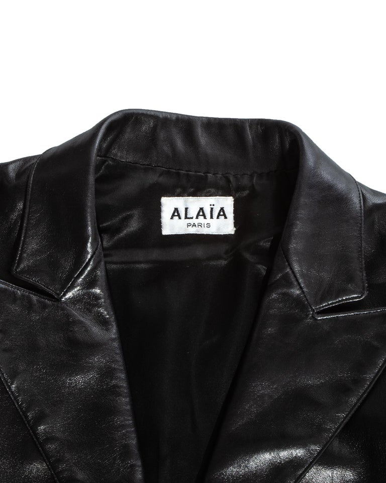 Azzedine Alaia black cropped jacket and maxi skirt set, ss 1992 For Sale 2