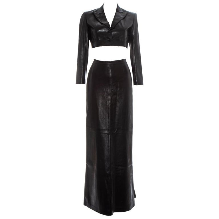 Azzedine Alaia black cropped jacket and maxi skirt set, ss 1992 For Sale