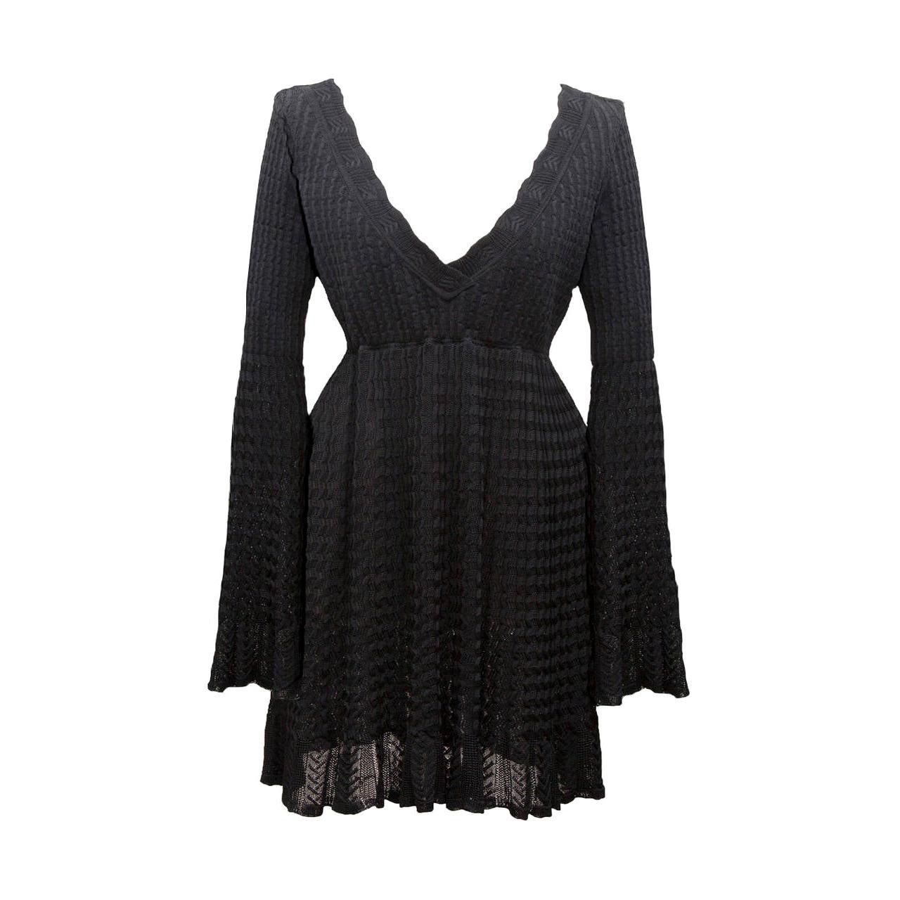 Azzedine Alaia Black Knit Dress Top 1992