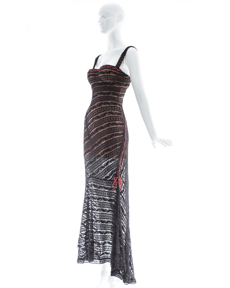 Women's Azzedine Alaia black lace knit bias cut evening dress, fw 1993 For Sale