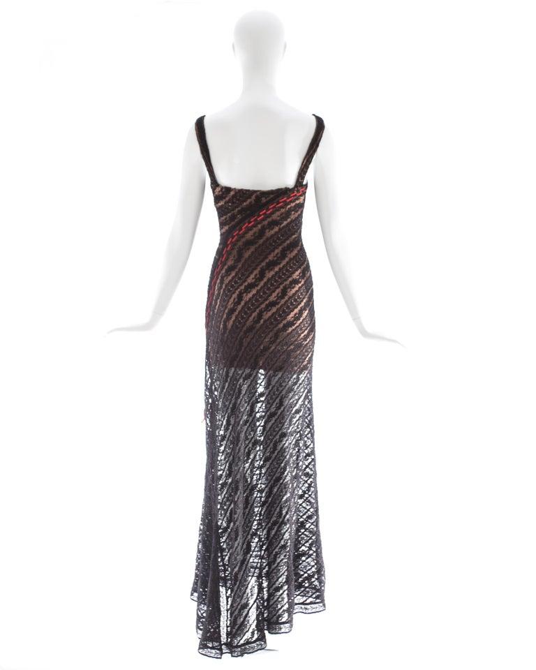 Azzedine Alaia black lace knit bias cut evening dress, fw 1993 For Sale 2