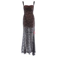 Azzedine Alaia black lace knit bias cut evening dress, fw 1993