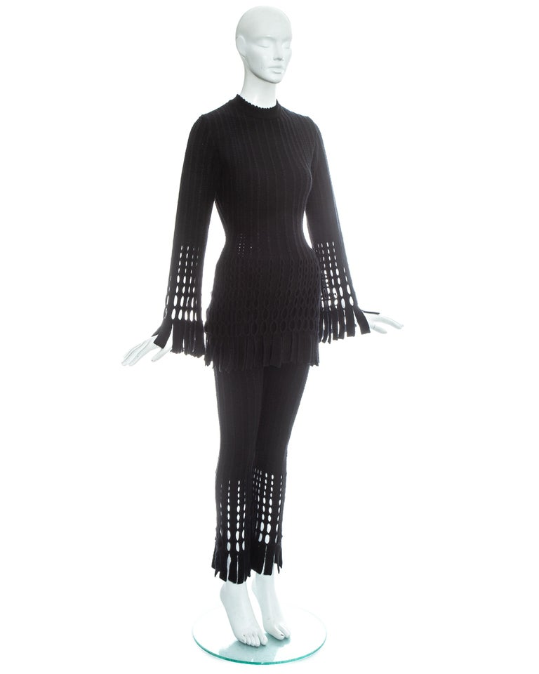 Black Azzedine Alaia black laser cut boiled wool fringed pant suit, fw 1993 For Sale