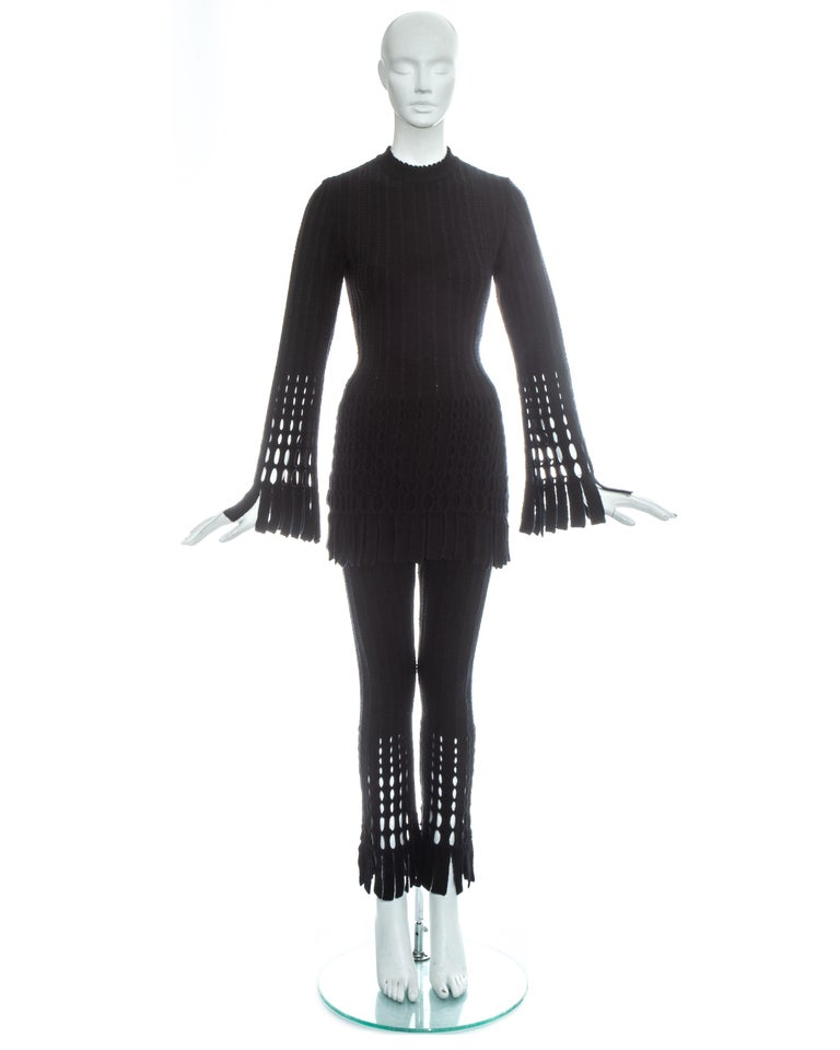 Azzedine Alaia black laser cut boiled wool fringed pant suit, fw 1993 In Excellent Condition For Sale In London, GB