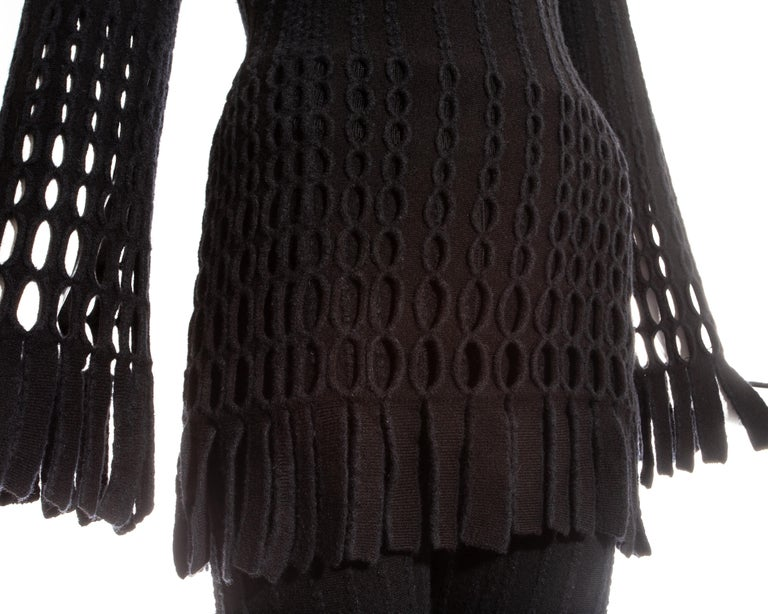 Women's Azzedine Alaia black laser cut boiled wool fringed pant suit, fw 1993 For Sale