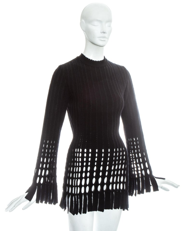Azzedine Alaia black laser cut boiled wool fringed pant suit, fw 1993 For Sale 2
