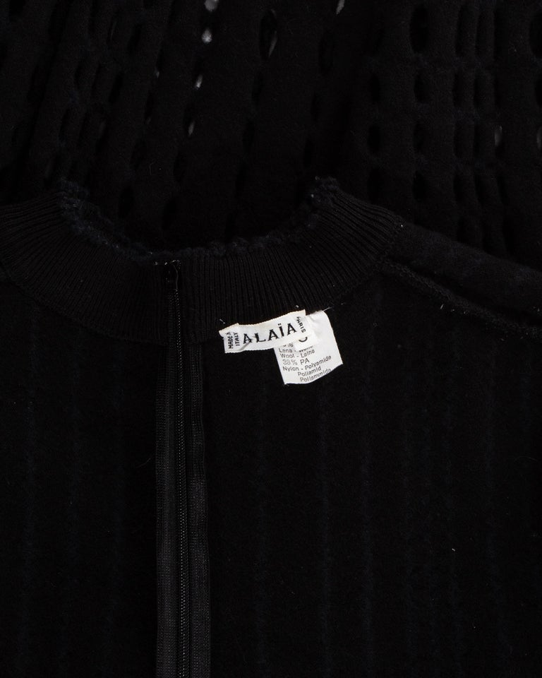 Azzedine Alaia black laser cut boiled wool fringed pant suit, fw 1993 For Sale 4