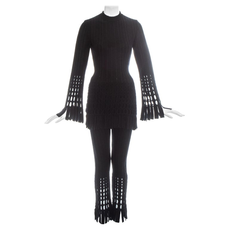 Azzedine Alaia black laser cut boiled wool fringed pant suit, fw 1993 For Sale