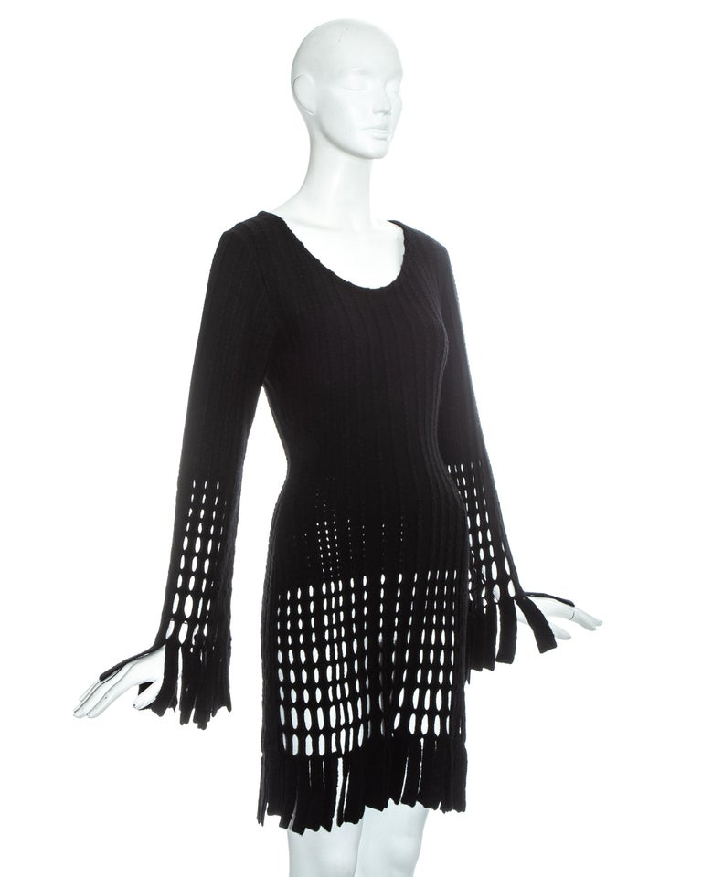 Black Azzedine Alaia black laser cut boiled wool fringed tunic, fw 1993 For Sale