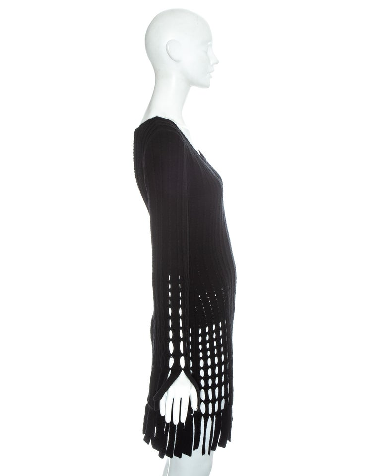 Azzedine Alaia black laser cut boiled wool fringed tunic, fw 1993 In Good Condition For Sale In London, GB