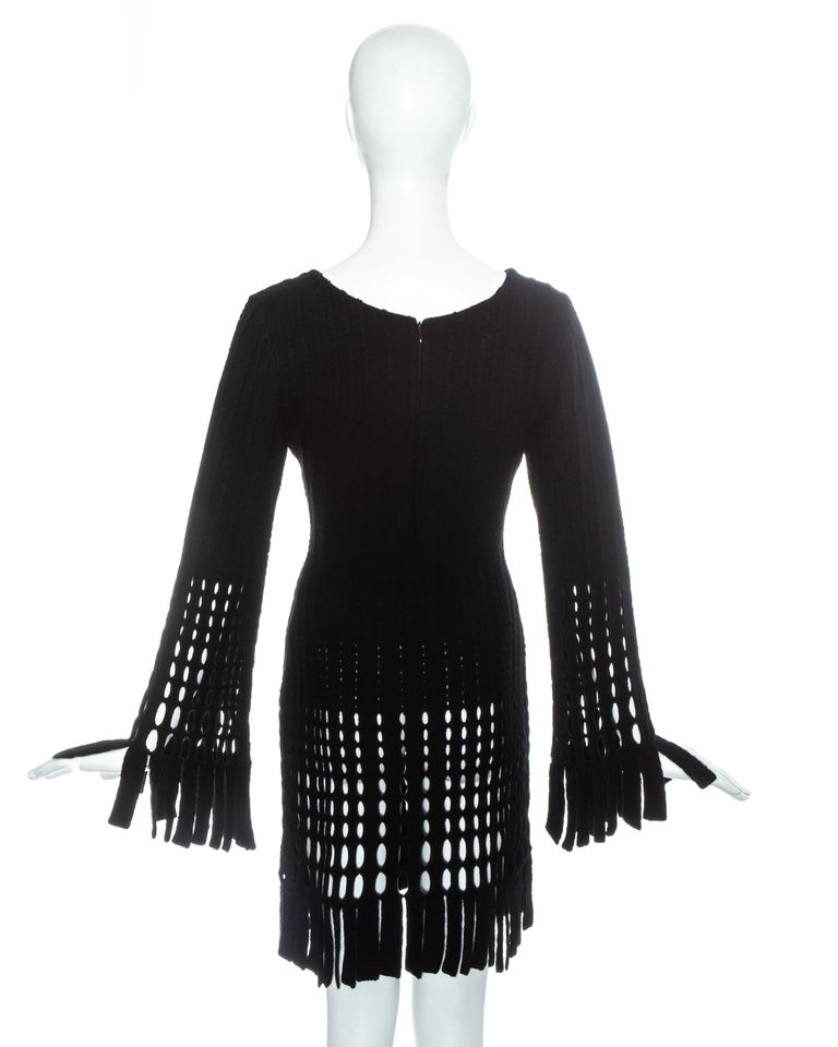 Women's Azzedine Alaia black laser cut boiled wool fringed tunic, fw 1993 For Sale