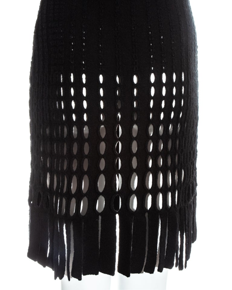 Azzedine Alaia black laser cut boiled wool fringed tunic, fw 1993 For Sale 1