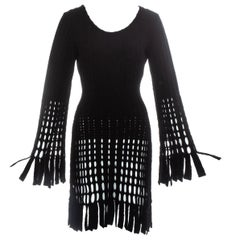 Azzedine Alaia black laser cut boiled wool fringed tunic, fw 1993